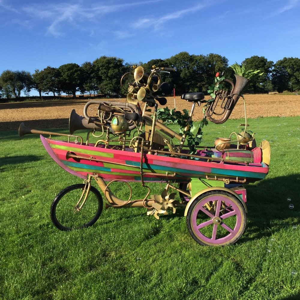 Bubble Boat Tricycle - Designed by James LewisBuilt by TIN SHED sceneryFor Hobbledown' A Place full of wonder, excitement and play where our friends, the Hobblers, spend their days around the fields and barns where animals roam content as always in their Hobbledown homes.'