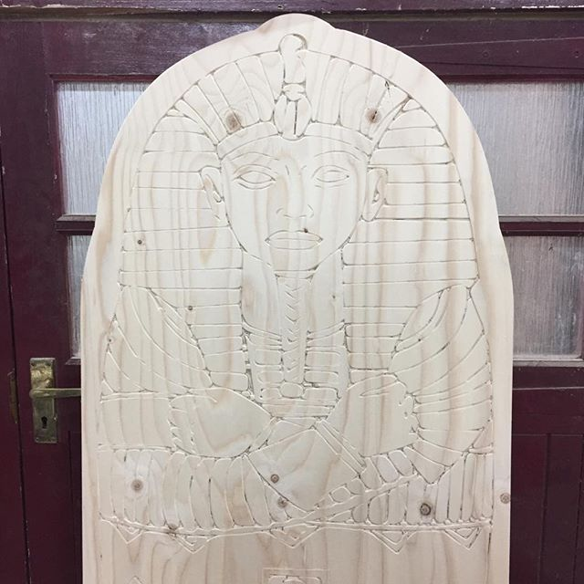 Mummy!! Carving a sarcophagus door for panto.  #mummy #kingtut #egyptian #cncrouter #setdesign #theatre #plywood #ispyply #cnc #tinshedcnc #tinshedscenery #vcarve #scenicconstruction #theatrescenery #setconstruction