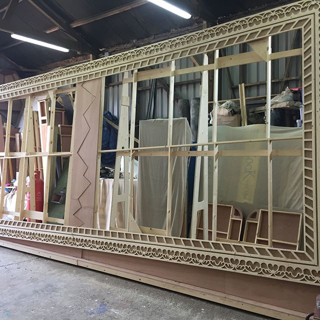 One very large picture frame, we're just waiting for the picture and a large tin of gold paint! It breaks in two during the performance.  #pictureframe #frame #framed #tinshedcnc #tinshedscenery #cnc #vcarve #cncrouter #sign #carved #carvedsign  #fretwork #plywood #theatrescenery #scenic #theatreset #theatresetdesign #scenicconstruction