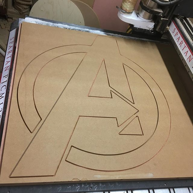 A is for ..... #avengers #tinshedcnc #tinshedscenery #cnc #vcarve #cncrouter #sign #carved #carvedsign