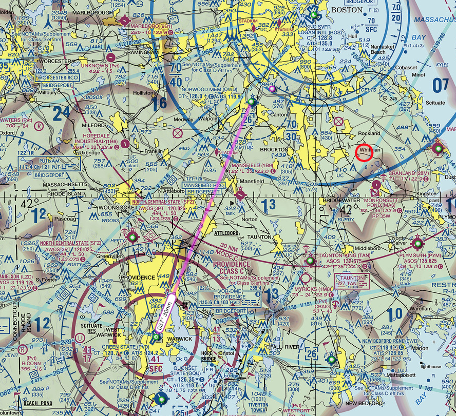 My flight path from KPVD to KOWD. Bear in mind my actual flight path was all over the place, because I had not quite figured out how to just let the plane fly.