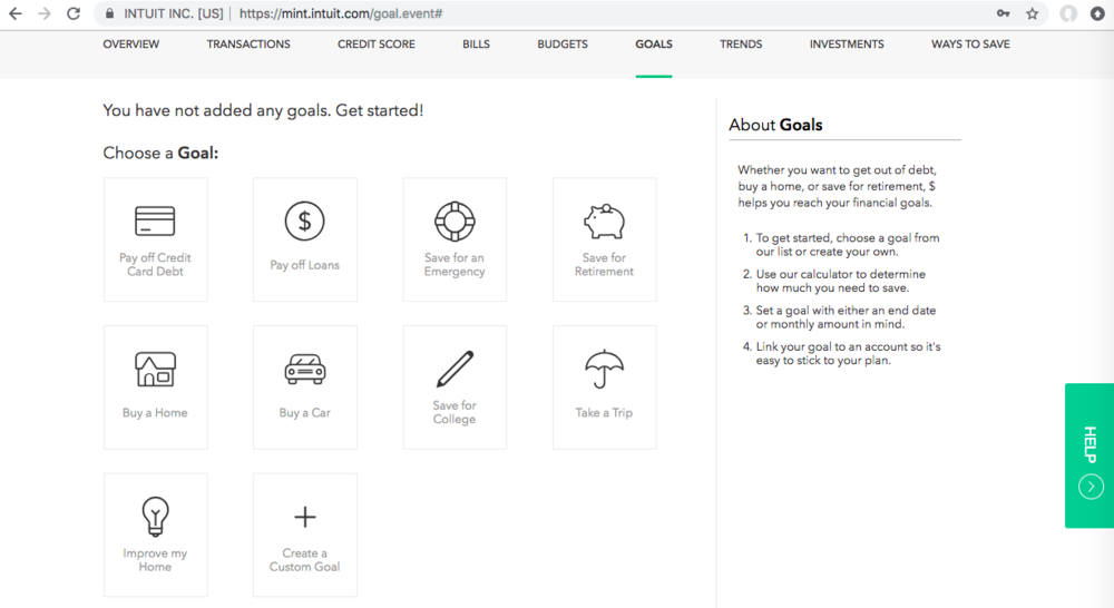 You can select which goal you would like to work on, and add a dollar amount you'd like to save per month towards that goal.