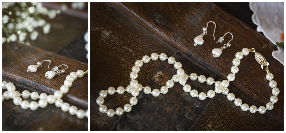 Erika wore one of her grandmother's pearl necklaces and her other grandmother's pearl earrings. She also had a Bible with her that day that has been passed down through her paternal grandmother's family.