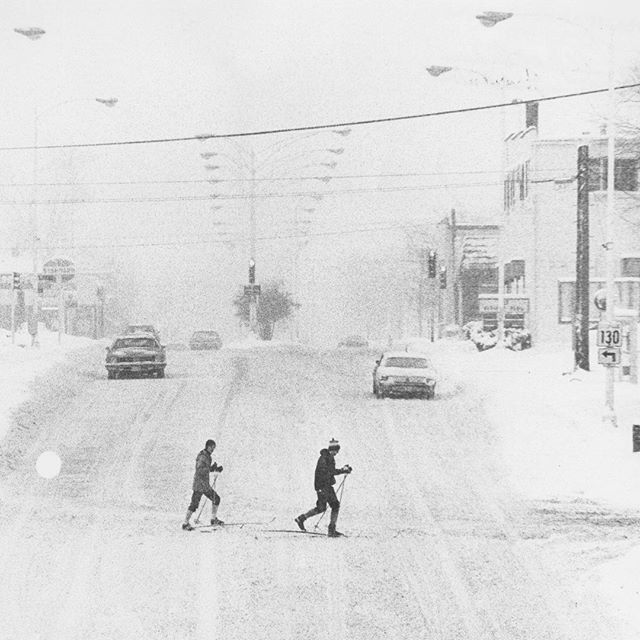 """Happy January 106th!  #EternalWinter  Champaign-Urbana Courier, January 28, 1979. """"Vine Street in Urbana was better suited to cross-country skiing than automobile traffic Saturday afternoon."""" Via Champaign County Historical Archives at The Urbana Free Library: """"Snowstorms—1979"""" Photographs Envelope. Local History Photographs collection."""