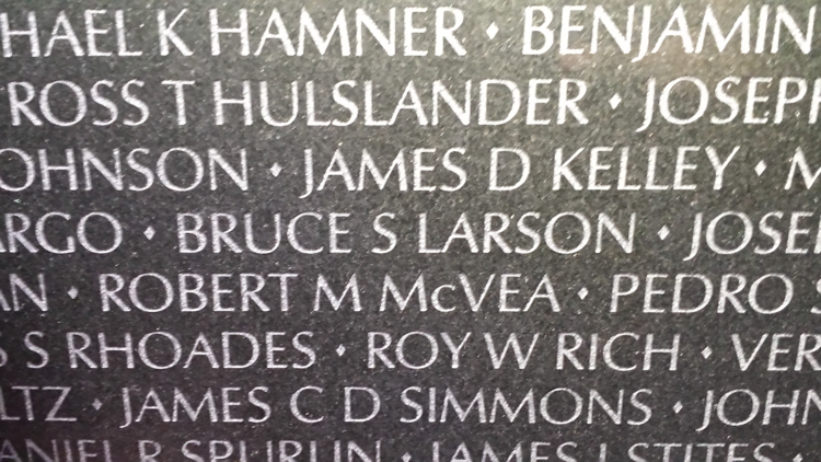 PFC Bruce Larson on the Vietnam Memorial Wall (43W, 39)