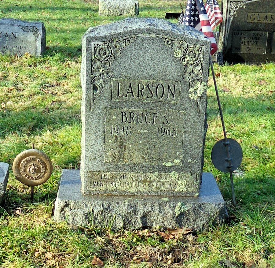 Bruce Larson's grave site in Bedford, NY