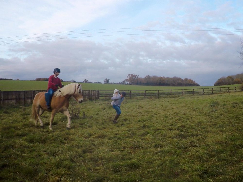 My husband riding Thor bridle-less and bareback, I'm a horse - family fun!