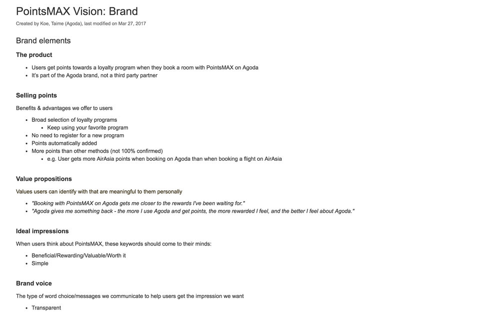 Brand strategy document for PointsMAX