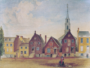 Pearl Street, Albany, NY, ca. 1800. Note the more urban clustering of buildings. Of the Dutch-built buildings, the narrowest side of the buildings faced the street, not the widest side as in Statia.