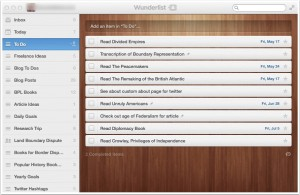 Wunderlist displays your various to-do lists on the left-hand side