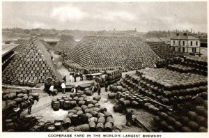 Thousands of barrels of Guinness stacked up in the St. James Gate brewery, Dublin