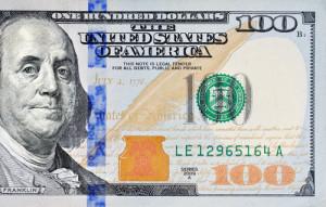 Macro shot of a new 100 dollar bill