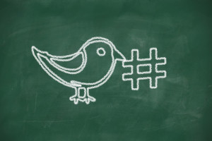 Drawing of a bird holding a hashtag for social media tag