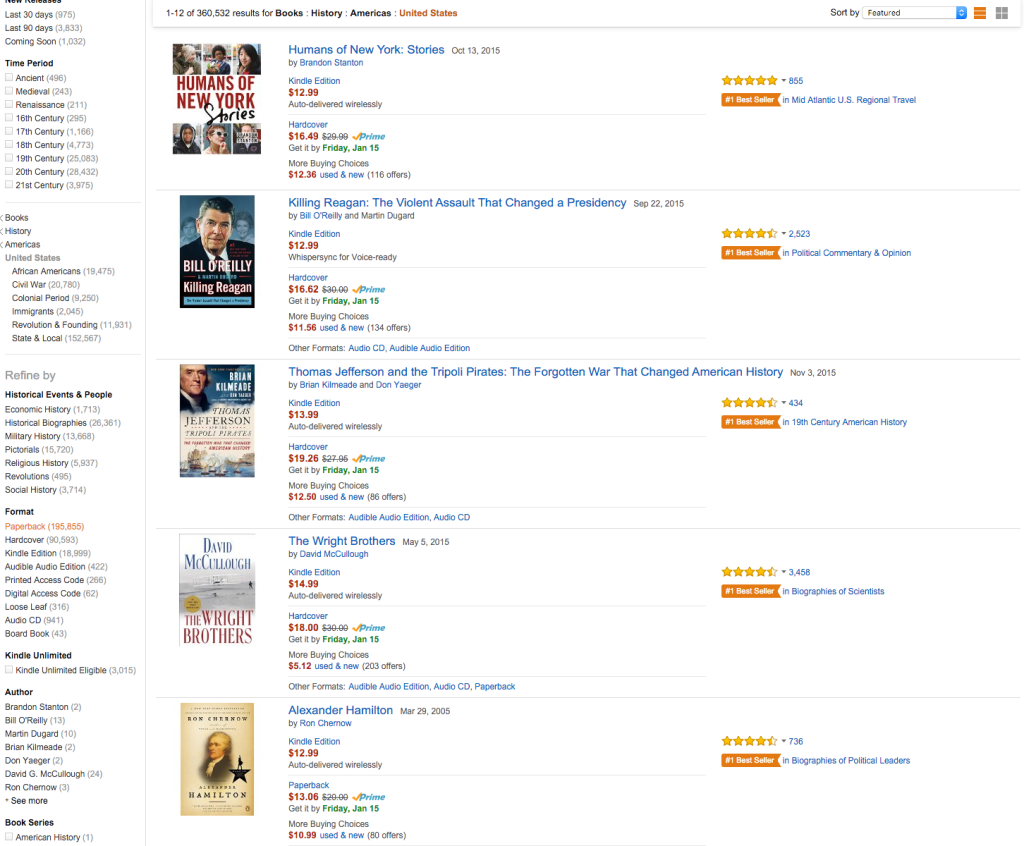 Amazon Bestselling History Books Jan 2016
