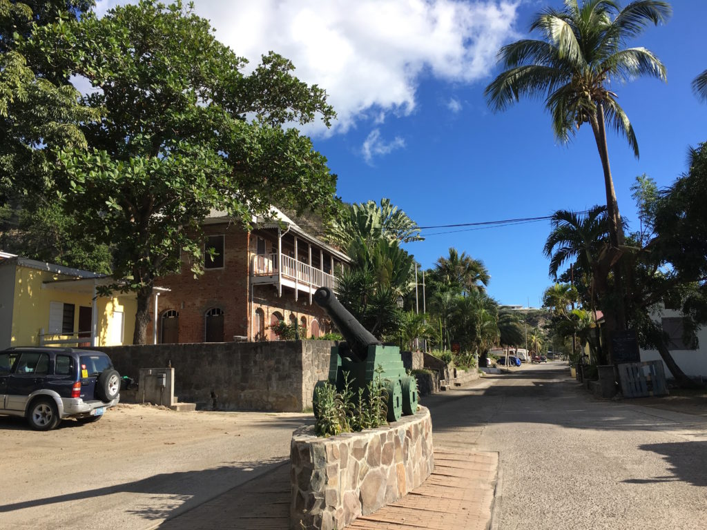 Lower Town Sint Eustatius. Building on left is the Old Gin House, so-called for the cotton gin that used to be in the building. Today, the Old Gin House is a hotel.