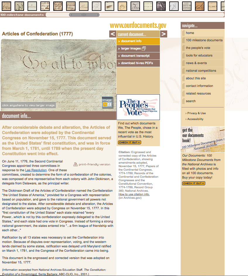 "Articles of Confederation as displayed on ""OurDocuments.gov"""