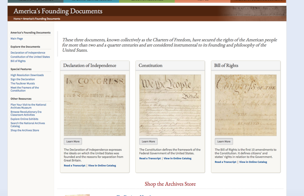 "National Archives, ""America's Founding Documents"" webpage"