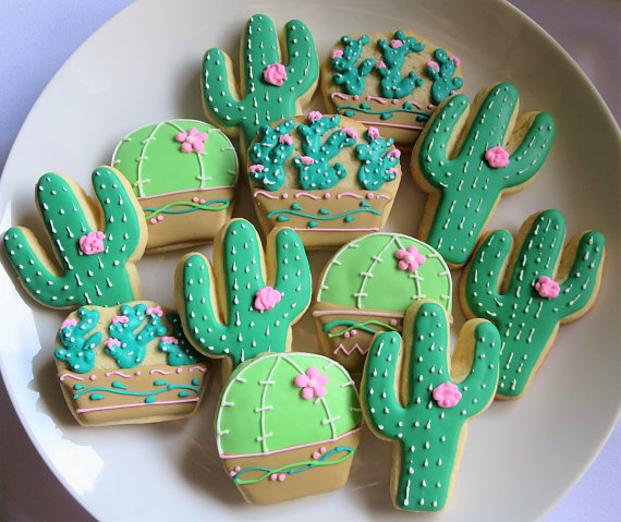 Cactus Cookies by A Little Bit of Paris, $39.95 for 12. Image via A Little Bit of Paris