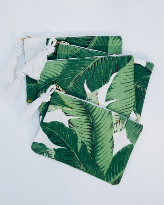 Leaf Print Zipper Pouch by The Atlantic Ocean, $48. Image via The Atlantic Ocean