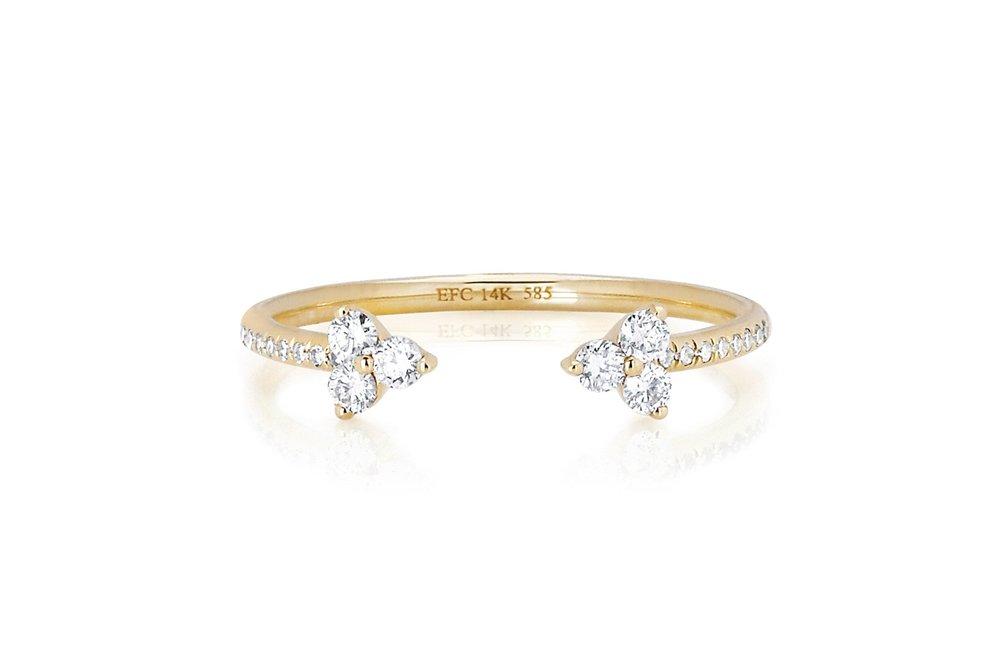 Open Diamond Trio Ring, $795. Image via EF Collection