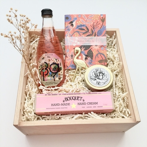 Be My Bridesmaid Gift Basket, $82. Image via Panache Gift Baskets.