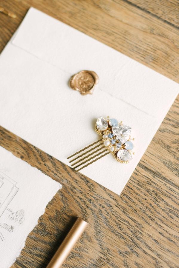 Something Blue Wedding Hair Pin | Image via Neva Bridal