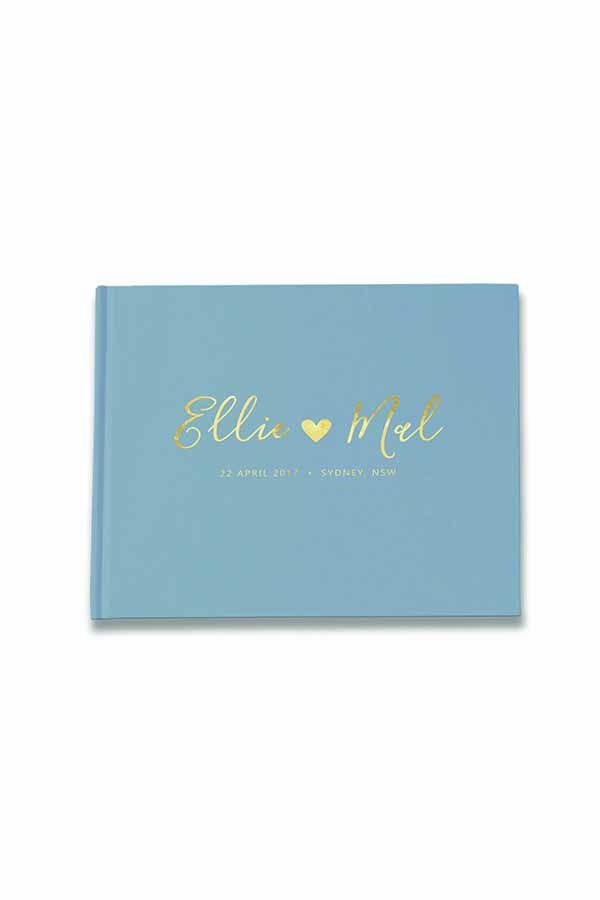 Something Blue Wedding Guest Book | Image via Paper Bound Love