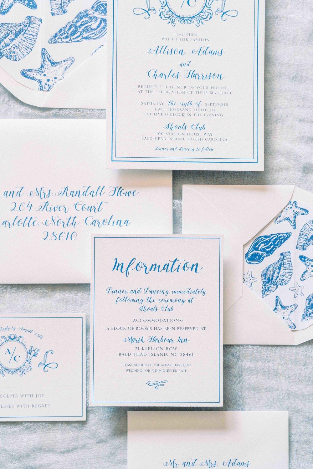 Blue and White Beach Wedding Invitation Suite by Prim Pretty Prints