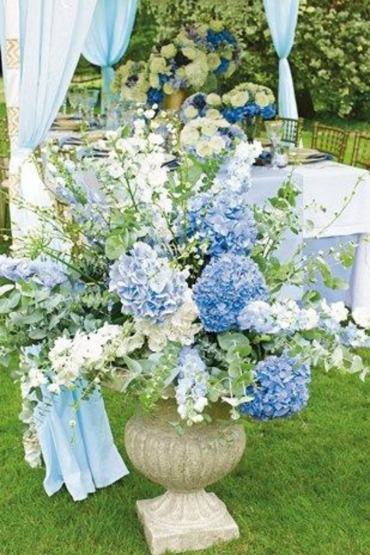 Blue Hydrangea and Delphinium Floral Arrangement, Photo from Brides UK