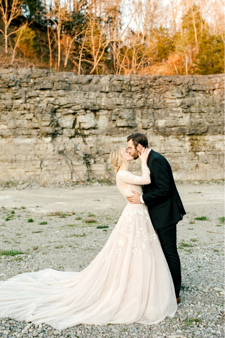 Fairytale wedding at Graystone Quarry outside Nashville, Tennessee in Franklin. Photo by Amilia Photography.