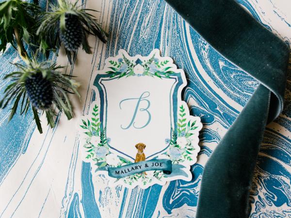 Mallary and Joe's custom wedding crest by Prim + Pretty Prints.   Photo by Feiten Photography.