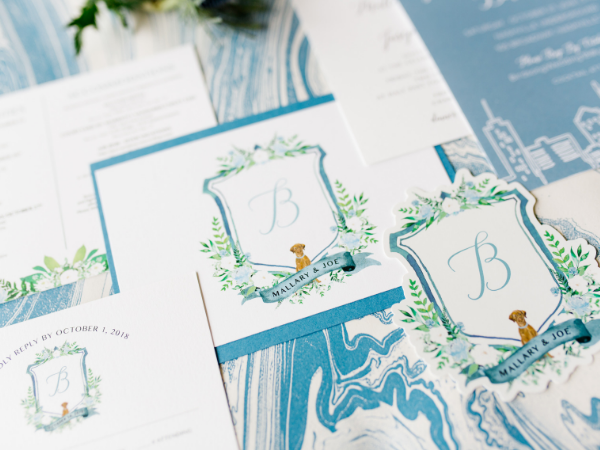 Custom wedding crest and invitation suite by Prim + Pretty Prints.   Photo by Feiten Photography.