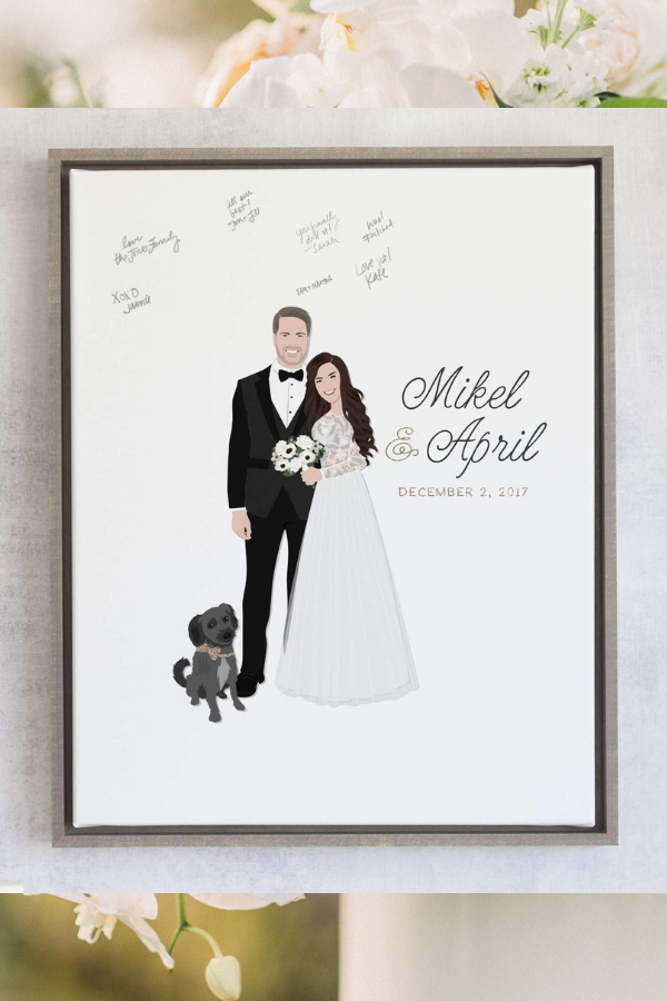 Custom Pet Portrait Wedding Guest book by Miss Design Berry, $224