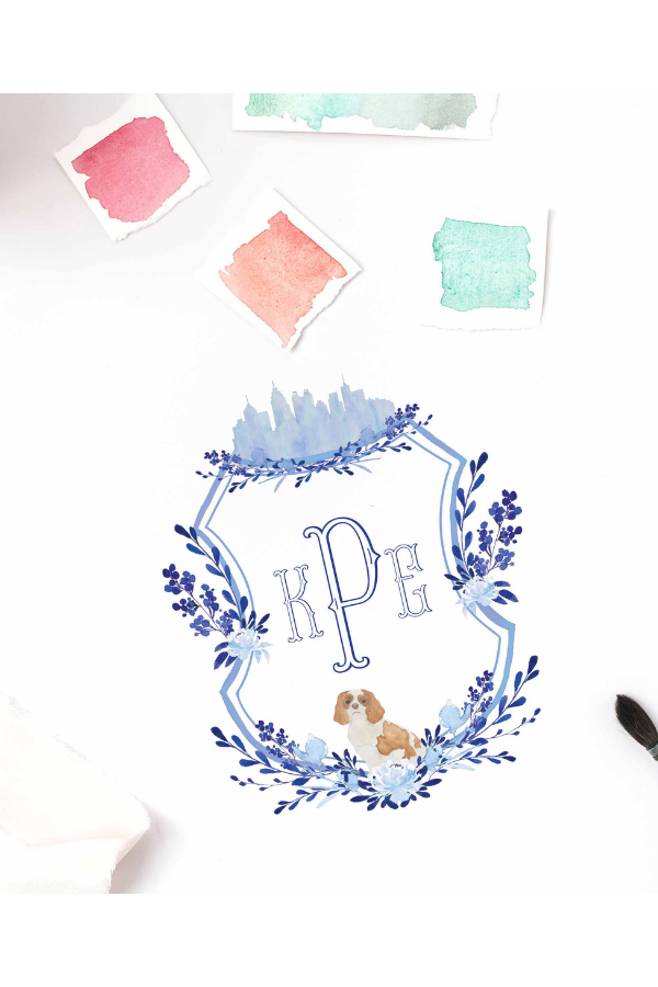 Custom crest by Prim Pretty Prints for Atlanta wedding featuring Cavalier King Charles portrait