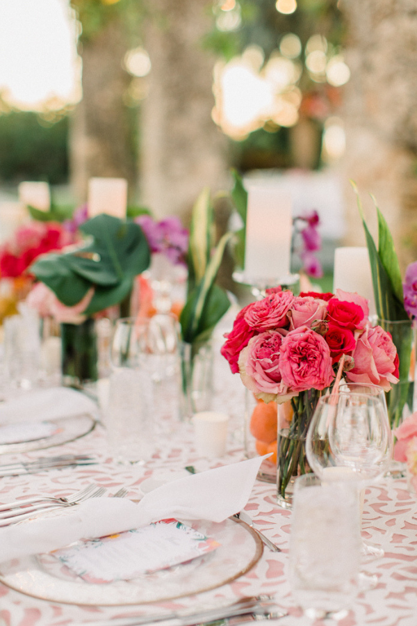Real Wedding at Naples Botanical Garden Tropical Wedding Ideas bold bright florals tablescape.png