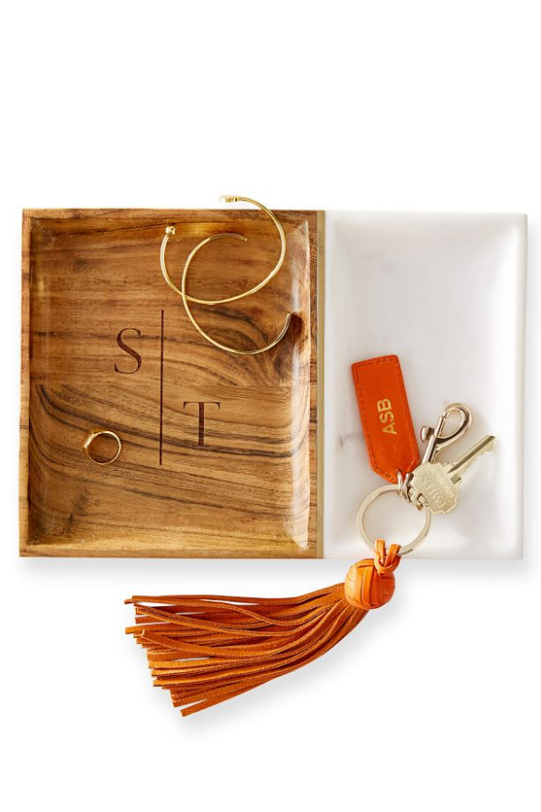 Monogrammed Wood and Marble Valet Tray, $59.