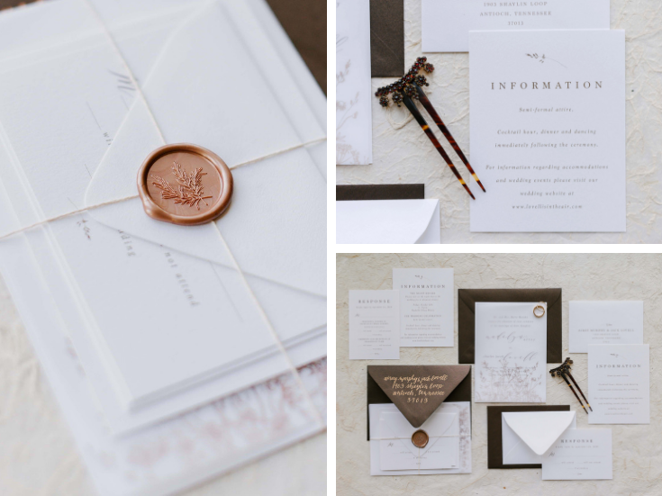 Wedding Invitations with wildflower detail, bronze ink, vellum overlay and wax seals.png