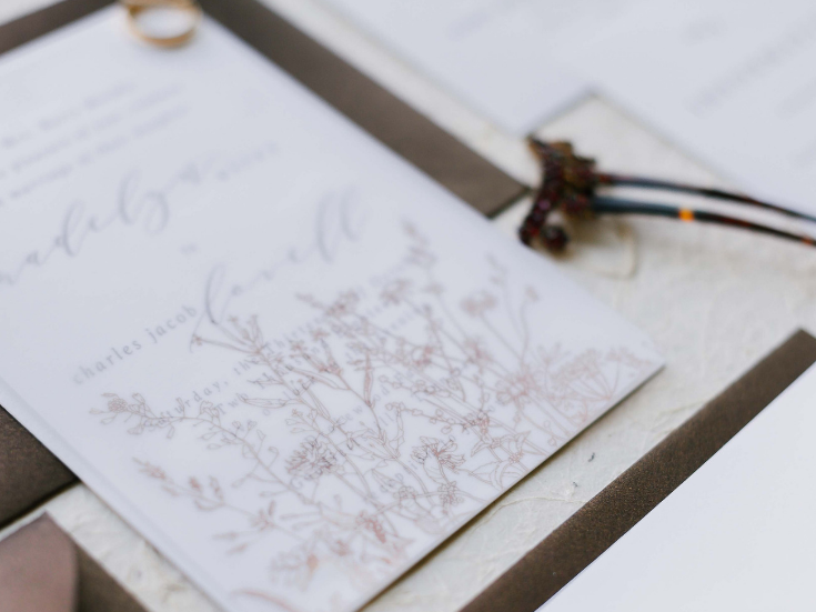 Wedding Invitations with wildflower detail, bronze ink, vellum overlay and wax seals-2.png