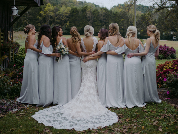 Wedding at Drakewood Farm in Nashville, Bridesmaids in dove grey and lace wedding gown with cap sleeves fall wedding.png