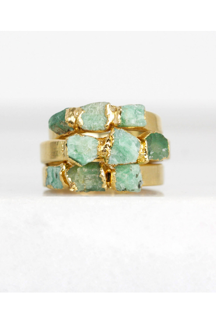 Raw Emerald Rings by DaniBarbe, $94.  Image via DaniBarbe