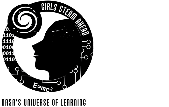 NASA's Universe of Learning Girls STEAM Ahead badge in black and white