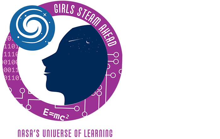 NASA's Universe of Learning Girls STEAM Ahead badge in color (purple and blue)