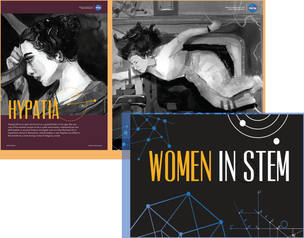 Women in STEM - View and download inspiring, beautiful posters and a mini zine celebrating some of the women who have made significant contributions to science, technology, engineering and math, from Hypatia in 4th century Alexandria, to Cady Coleman on the International Space Station, and more.Audience: All LearnersWeb site: Women in STEM project (website)Poster series: Women in STEM posters