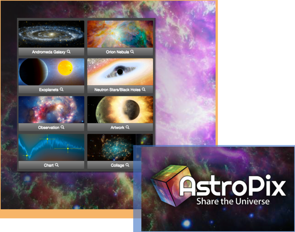 AstroPix - A one-stop shopping experience that makes finding the right astronomy image easier than ever! AstroPix offers access to the public image galleries of many of the leading astronomical observatories under a single unified interface. Images are organized by featured topics, image type, telescope, subject, and electromagnetic spectrum band.Audience: All LearnersData tool: AstroPix website