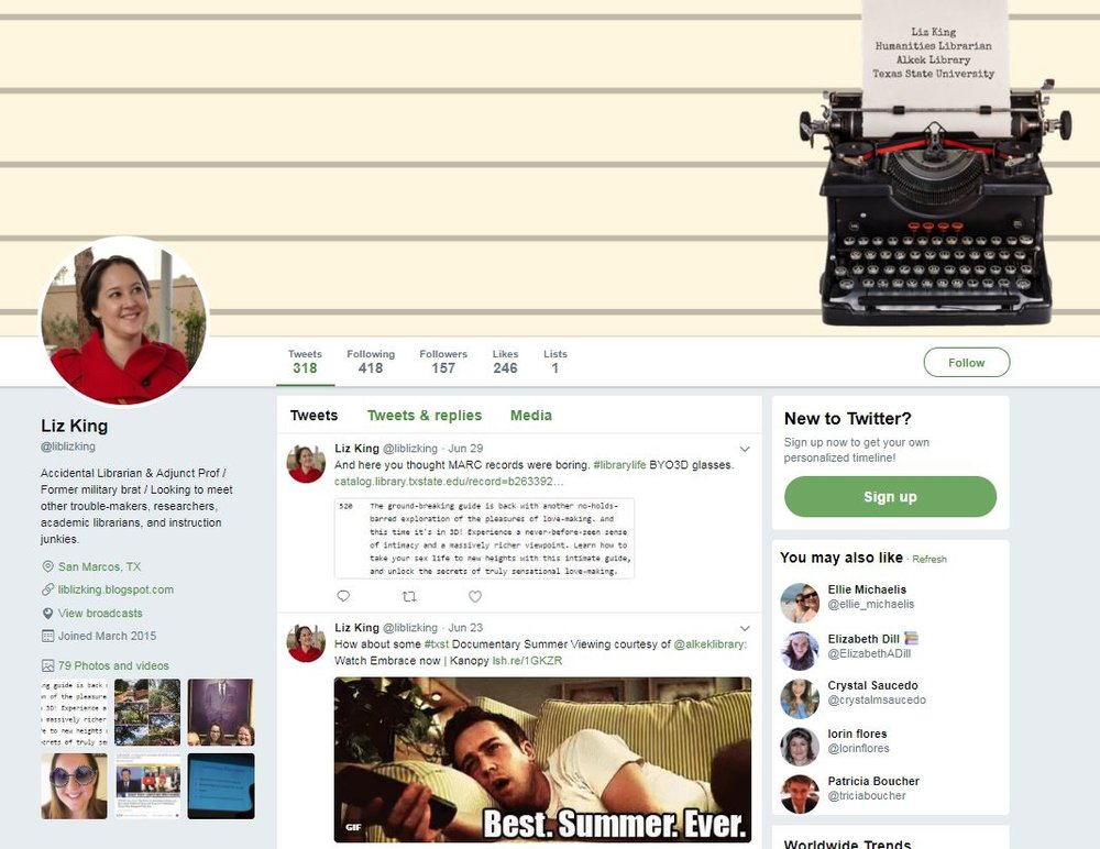 @libizking on twitter - Liz maintains a twitter account for sharing information with students, faculty & staff, and other library professionals.