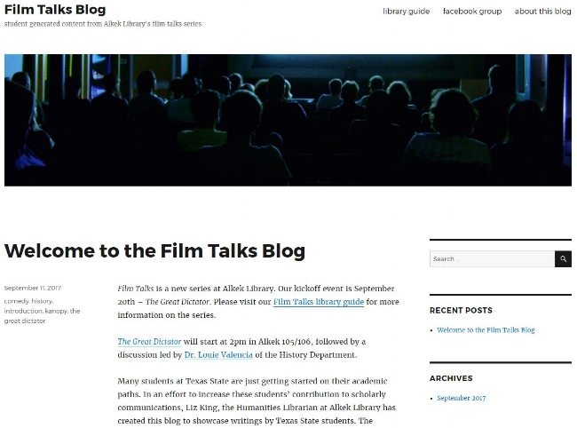 student-generated blog - In an effort to increase undergraduate students' awareness of and participation in Scholarly Communications, Liz established the Film Talks blog - based on ideas formed during an ACRL Intersections Roadshow