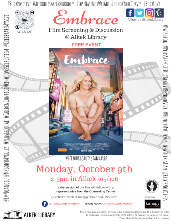 film talks: embrace - As part of the promotion for the Embrace screening, Liz created flyers and posters to be distributed around campus and online. The theme of researching the