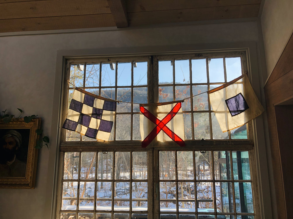 Vintage Sailing Flags (Set of 3) - Graphic and delicate square flags that show some wear with tiny holes here and there that don't distract from the beauty. Two flags measure 18