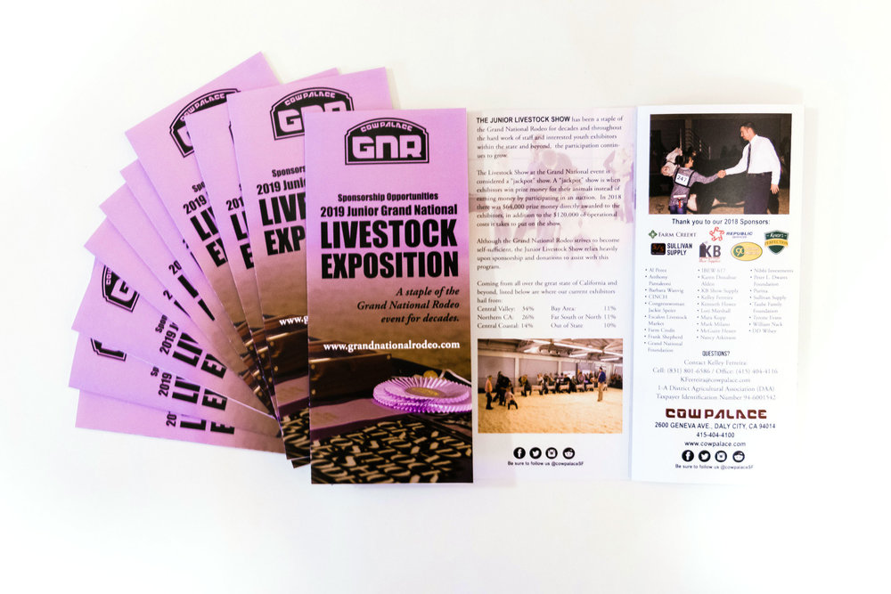 4-color, tri-fold brochures printed digitally for the 2019 Junior Grand National Livestock Exposition.