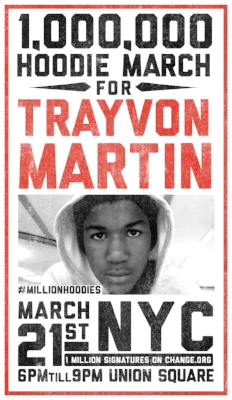 The poster for the original Million Hoodies march in response to the death of Trayvon Martin - March 2012